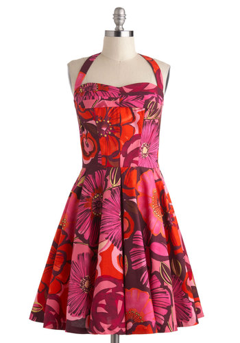 Poppy of Perfection Dress by Fables by Barrie - Cotton, Mid-length, Purple, Red, Floral, Pleats, Daytime Party, Fit & Flare, Halter, Sweetheart, Wedding, Vintage Inspired, 50s, Spring, Pinup, Bridesmaid, Summer