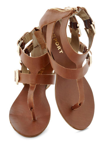 Full of Wander Sandal - Leather, Tan, Solid, Buckles, Cutout, Casual, Beach/Resort, Boho, Spring, Summer, Strappy
