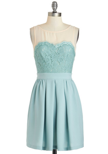 Flower Market Date Dress - Short, Mint, Tan / Cream, Cutout, Lace, Pleats, Pockets, A-line, Sleeveless, Solid, Wedding, Daytime Party, Vintage Inspired, Pastel, Sheer, Boat, Graduation, Bridesmaid, Summer