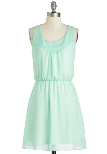 Julep You Learn Dress - Pastel, Mid-length, Mint, Solid, Casual, A-line, Racerback, Scoop, Daytime Party, Minimal