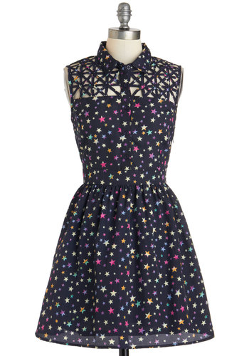 Star Catching Dress - Blue, Multi, Buttons, Cutout, Shirt Dress, Sleeveless, Short, Print, Casual, A-line, Collared, Novelty Print, Variation