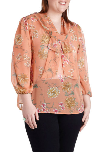 Worth Preserving Top in Plus Size - Sheer, Coral, Floral, Bows, Work, Vintage Inspired, 40s, Long Sleeve, Multi