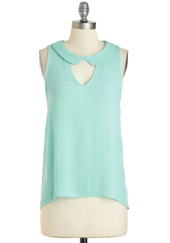 Spring Zephyr Top - Green, Solid, Cutout, Sleeveless, Collared, Mid-length, Peter Pan Collar, High-Low Hem, Spring, Summer, Mint