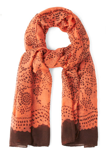Mind Over Pattern Scarf - Coral, Black, Print, Winter