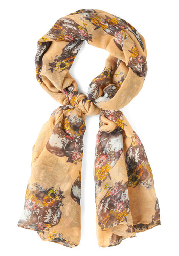 Dome Grown Scarf in Peach - Tan, Multi, Floral, Novelty Print, Winter