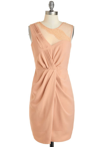 Heirloom of Elegance Dress - Mid-length, Pink, Solid, Lace, Pleats, Wedding, Cocktail, Sheath / Shift, Sleeveless, Scoop, Pastel, Bridesmaid, Summer