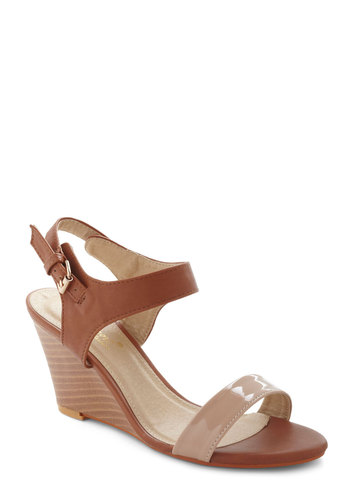 Pecan Pie Wedge - Tan, Colorblocking, Minimal, Mid, Wedge, Work, Daytime Party, Faux Leather, Summer
