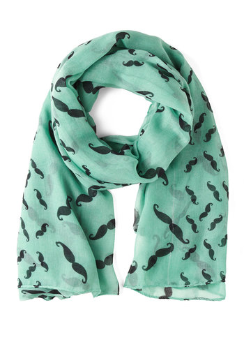 Mustachioed to Joy Scarf in Mint - Mint, Novelty Print, Pastel, Quirky
