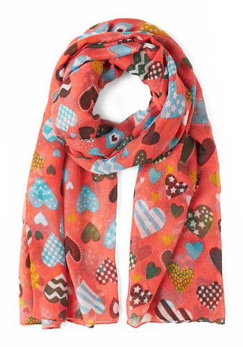 Hearts in the Right Place Scarf - Coral, Multi, Novelty Print