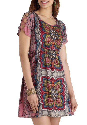 Plant Sitter Dress - Mid-length, Multi, Print, Cutout, Casual, Boho, A-line, Short Sleeves, Scoop, Beads, Vintage Inspired, 60s, 70s