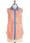 Calliope Character Tunic - Multi, Red, Blue, White, Stripes, Buttons, Sleeveless, Collared, Sheer, Mid-length, Nautical, Summer