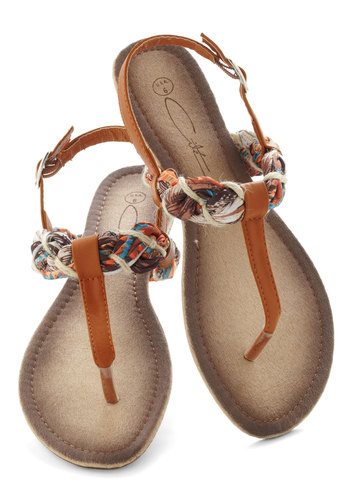 Aptitude for Crafty Sandal - Faux Leather, Brown, Multi, Braided, Beach/Resort, Summer, Casual, Boho, Vintage Inspired, 70s, Low