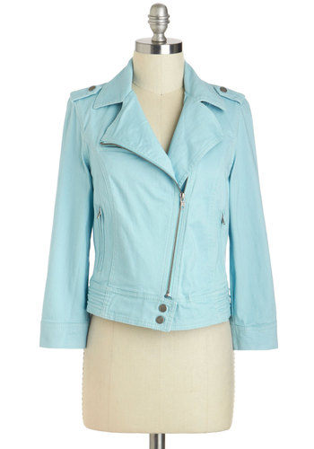 Zip Down Memory Lane Jacket - Blue, Long Sleeve, Cotton, Short, 1, Solid, Epaulets, Exposed zipper, Casual, Pastel