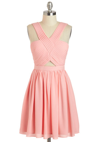 V for Vienna Dress - Chiffon, Mid-length, Pink, Solid, Cutout, Party, A-line, Tank top (2 thick straps), Prom