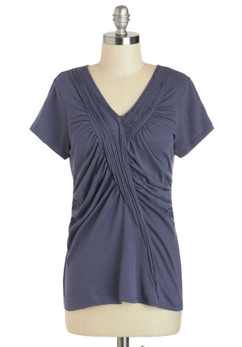 Indigo-Getter Top - Blue, Solid, Ruching, Casual, Short Sleeves, Mid-length, V Neck, Travel