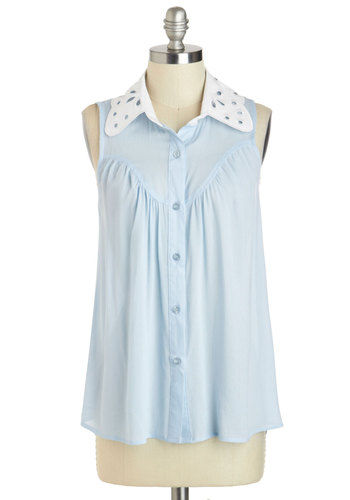 You Winsome, You Woo Some Top - Blue, White, Solid, Buttons, Peter Pan Collar, Work, Daytime Party, Vintage Inspired, Sleeveless, Collared, Sheer, Mid-length, Cutout, Casual, Menswear Inspired, Pastel, Spring, Summer