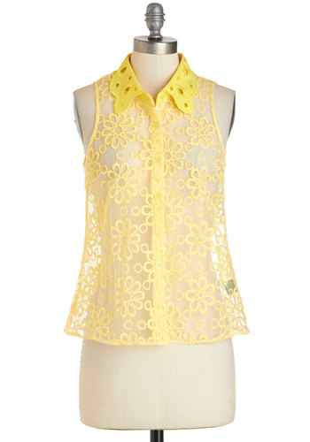 I See the Sunlight Top - Yellow, Solid, Buttons, Peter Pan Collar, Daytime Party, Vintage Inspired, Sleeveless, Collared, Sheer, Mid-length, Embroidery, Casual, 60s, Mod, Button Down, Spring, Summer, Pinup