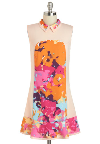 Watercolor the Chances? Dress - Short, Orange, Multi, Floral, A-line, Sleeveless, Collared, Party, Daytime Party, Beach/Resort, Statement, Summer