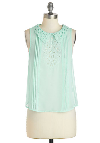 Point Pleasant Top - Chiffon, Sheer, Mid-length, Mint, Solid, Eyelet, Sleeveless, Collared, Summer
