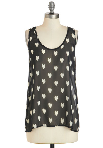 Loving Your Look Top - Sheer, Mid-length, Black, White, Novelty Print, Tank top (2 thick straps), Bows, Casual, Scoop, Summer, Valentine's, Black, Sleeveless