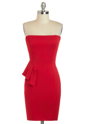Apple Encore Dress - Short, Red, Solid, Girls Night Out, Bodycon / Bandage, Strapless, Ruffles, Party, Cocktail, Vintage Inspired, 80s, Prom