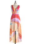 Sunrise Over the Sea Dress - Multi, Print, Party, Maxi, Sleeveless, High-Low Hem, V Neck, Vintage Inspired, Luxe, Statement, Long, Red, Orange, Pink, Wedding, Graduation, Summer, Ruching, Beach/Resort