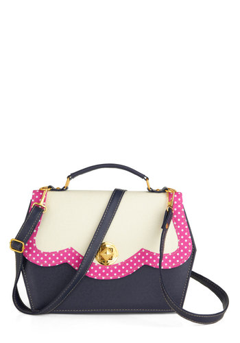 New to the Block Bag - Blue, White, Pink, Gold, Solid, Polka Dots, Trim, International Designer, Work