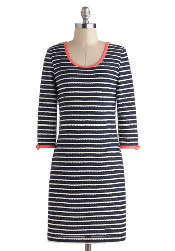 Rows and Bows Dress by Yumi - Mid-length, Blue, Pink, White, Stripes, Bows, Scallops, Casual, Nautical, Bodycon / Bandage, 3/4 Sleeve, Scoop