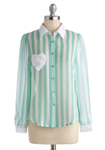 Quaint of Heart Top by Sugarhill Boutique - International Designer, Sheer, Mid-length, Mint, White, Stripes, Buttons, Pockets, Long Sleeve, Collared, Pastel