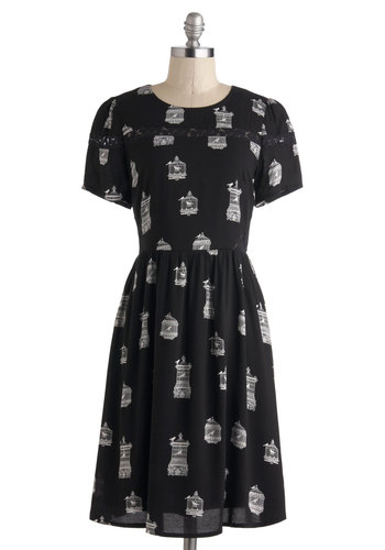 Perch Party Dress by Sugarhill Boutique - International Designer, Long, Black, White, Print with Animals, Lace, Casual, A-line, Short Sleeves, Scoop