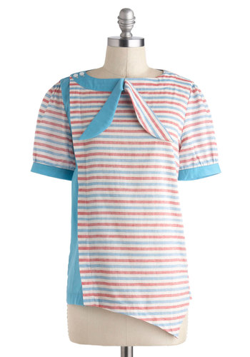 Kari's See What I Gamine Top by Dear Creatures - Blue, Red, Stripes, Buttons, Short Sleeves, Cotton, Sheer, Mid-length, Spring, Nautical