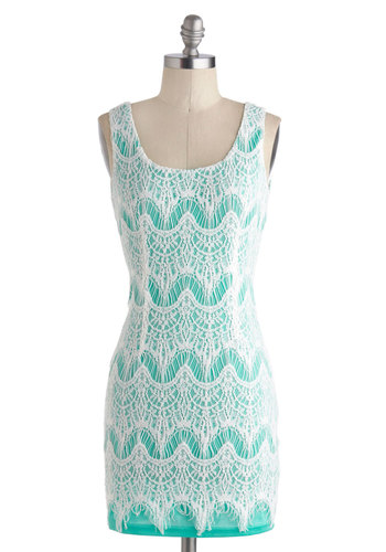 East Robin's Egg Dress - Pastel, Short, White, Lace, Party, Bodycon / Bandage, Tank top (2 thick straps), Scoop, Blue, Girls Night Out