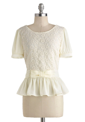Poetic Presentation Top - Mid-length, Cream, Work, Peplum, Short Sleeves, Solid, Bows, Embroidery, Daytime Party, Vintage Inspired, 40s, Sheer, Scoop, Buttons