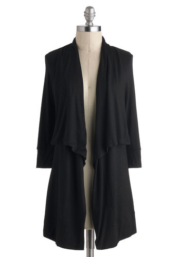 Lovely Layer Cardigan - Black, Solid, Casual, Long Sleeve, Jersey, Minimal, Travel, Winter, Top Rated, Black, Long Sleeve