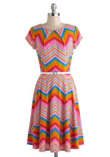 Prism and Her Dress - Vintage Inspired, 70s, Multi, Red, Orange, Green, Blue, Pink, Print, Casual, A-line, Short Sleeves, Long, Belted, Chevron