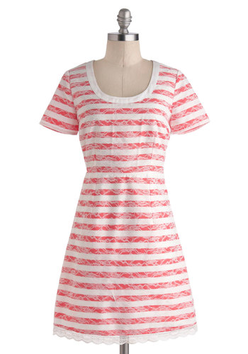 Coral Conductor Dress - Mid-length, White, Coral, Stripes, Buttons, Lace, Scallops, Casual, Shift, Short Sleeves, Scoop