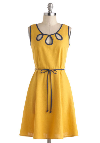 Offering Energy Dress - Mid-length, Yellow, Blue, Cutout, Belted, Casual, A-line, Tank top (2 thick straps), Scoop, Solid, Daytime Party, Summer
