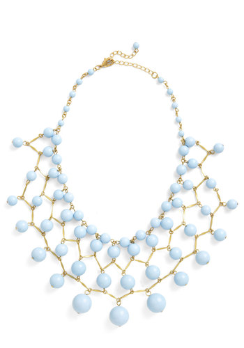 Bob, Bob, Baublin' Along Necklace - Blue, Gold, Solid, Tiered, Statement, Beads, Pastel, 60s, Bridesmaid