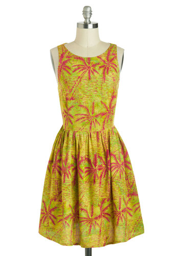 Caught Your Island Dress by Sugarhill Boutique - International Designer, Mid-length, Green, Pink, Print, Casual, A-line, Sleeveless, Boat, Beach/Resort, Summer