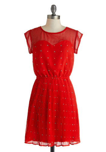 Snug as a Ladybug Dress by Sugarhill Boutique - International Designer, Sheer, Mid-length, Red, Multi, Print with Animals, A-line, Cap Sleeves, Crew, Daytime Party, Quirky
