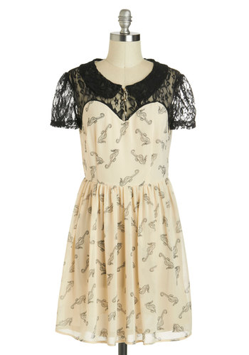 A Sight to Seahorse Dress by Sugarhill Boutique - International Designer, Mid-length, Black, Print with Animals, Buttons, Lace, Peter Pan Collar, A-line, Short Sleeves, Collared, Sheer, Party, Nautical