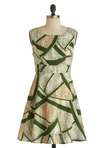 Art Greco Dress - Cream, Green, Casual, A-line, Sleeveless, Short, Print, Bows, Buttons, Cutout, Boat