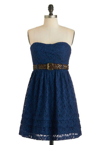 Rad About Tulsa Dress - Blue, Solid, Lace, Belted, Casual, A-line, Sweetheart, Strapless, Braided, Summer