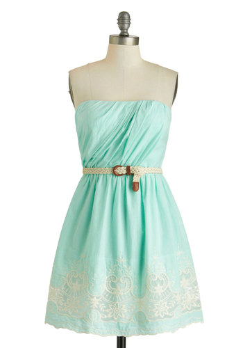 Beach Boutique Dress - Blue, White, Belted, Ruching, A-line, Strapless, Cotton, Embroidery, Braided, Daytime Party, Pastel, Mint, Summer
