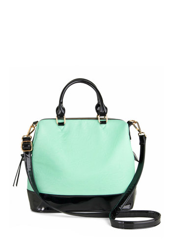 Remix and Match Bag - Mint, Black, Solid, Colorblocking, Faux Leather, Pastel