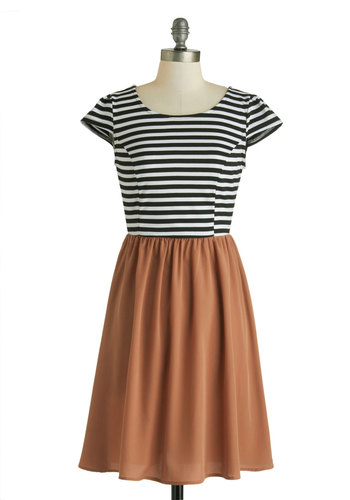 Silent Film Star Dress - Mid-length, Pink, Black, White, Stripes, Casual, A-line, Cap Sleeves, Scoop, French / Victorian, Twofer