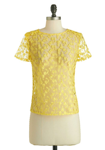 Heart of Marigold Top - Sheer, Mid-length, Yellow, Floral, Embroidery, Daytime Party, Short Sleeves, Studs, Summer