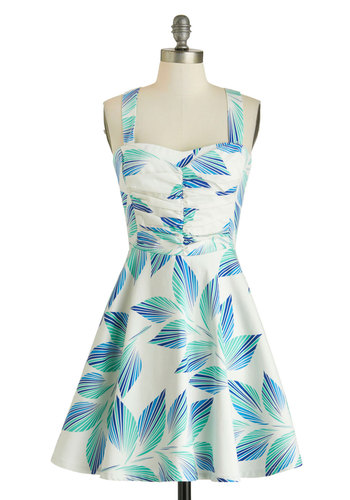 Plant Hardly Wait Dress in Palms - Short, Blue, Print, Ruching, Party, Fit & Flare, Tank top (2 thick straps), Sweetheart, Summer, Daytime Party, Beach/Resort, Vintage Inspired, 50s, Cotton, Variation, White, Press Placement