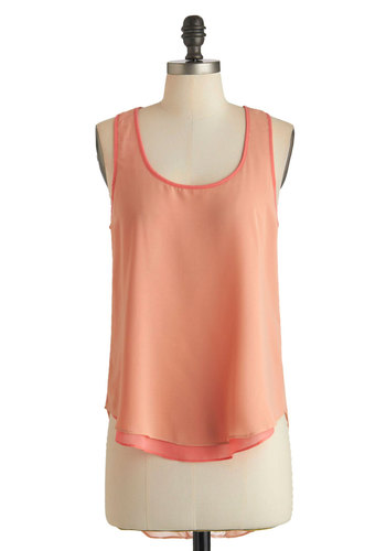 Picking Peonies Top - Mid-length, Orange, Solid, Casual, Tank top (2 thick straps), High-Low Hem, Summer