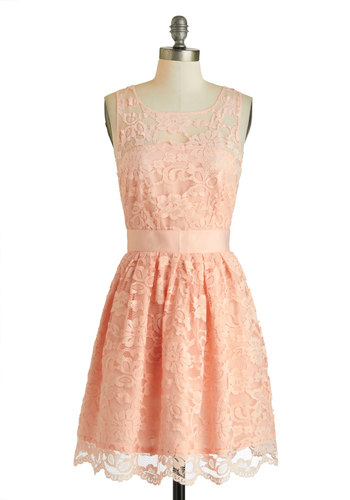 When the Night Comes Dress in Petal by BB Dakota - Pink, Party, A-line, Sleeveless, Spring, Exclusives, Solid, Scallops, Scoop, Wedding, Cotton, Mid-length, Bridesmaid, Lace, Graduation, Pastel, Daytime Party, Valentine's, Variation